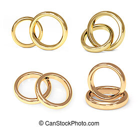 oro, set, anelli, matrimonio