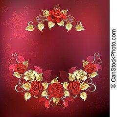oro, simétrico, rosas, rojo, guirnalda