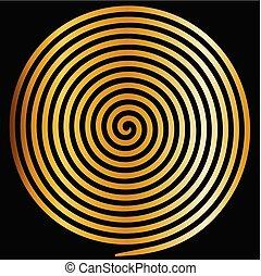 oro, spiral., astratto, ipnotico, vortice, rotondo