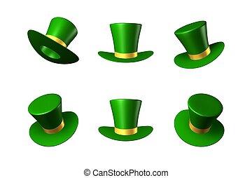 oro, st., patrick's, cappello verde, giorno, nastro