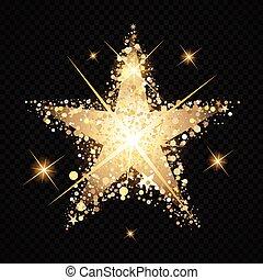 oro, stardust, estrella, plano de fondo, aislado, negro