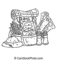 oro, stile, monete, sacchetto, comico, avventuriero, items., chiave, pozione, borsa, fantasia, lineart, tesoro, pacco, illustrazione, carattere, coloring., esploratore, doodle.