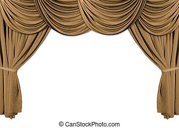 oro, teatro, etapa, cubierto, con, cortinas