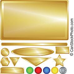 oro, tela, botones, y, barras
