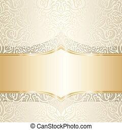 oro, &, tendenza, carta da parati, ecru, disegno, invito, floreale, matrimonio