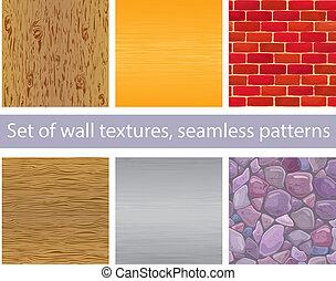 oro, -, texturas, madera, metal, seamless, pared, conjunto, ...