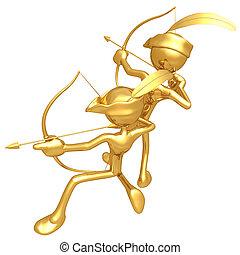 oro, tipo, arcieri