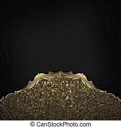 oro, trim., bordi, sfondo nero, polvere