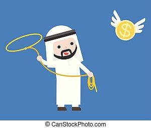 oro, uomo affari volante, arabo, presa, cappio, usando, moneta, laccio