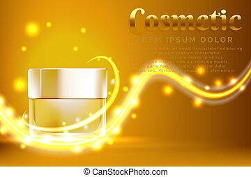 oro, vaso, cosmetico, prodotti, fondo, annuncio, baluginante, crema