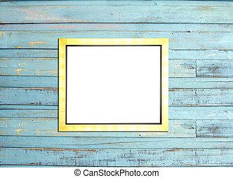 oro, vendemmia, cornice, su, blu, legno, fondo