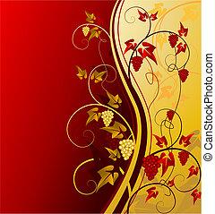 oro, vendimia, plano de fondo, con, uva