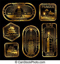 oro, vendimia, viaje, sellos, con, monumentos, y, señales