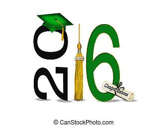 oro, verde, graduación, 2016