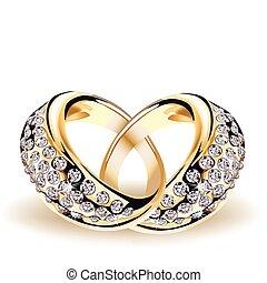 oro, vettore, anelli nozze, e, diamanti