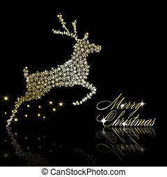 oro, vettore, dorato, nero, fiocchi neve, cervo, stelle, fatto, natale, eps10, illustrazione, fondo.