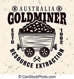 oro, vettore, rotaia, carrello, emblema, minerario, pieno