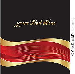 oro, vettore, sfondo rosso