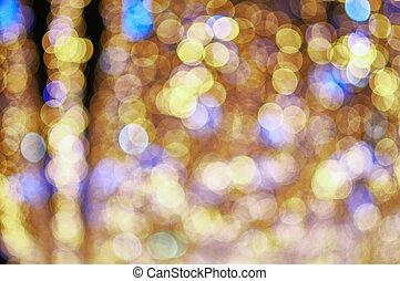 oro, y azul, confuso, luces