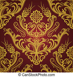 oro, y, papel pintado, lujo, floral, rojo