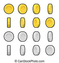 oro, y, plata, coins, con, diferente, rotación, angles.