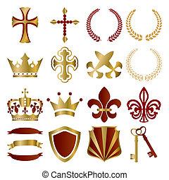 oro, y, rojo, ornamentos, conjunto