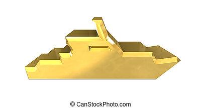 oro, -, yacht, fondo, bianco, icona, 3d
