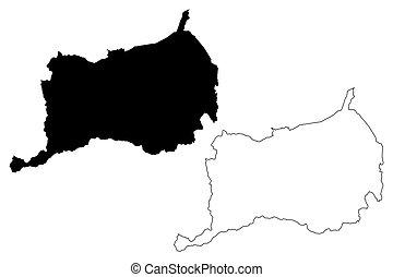 Orocovis municipality (Commonwealth of Puerto Rico, Porto Rico, PR, Unincorporated territories of the United States) map vector illustration, scribble sketch Orocovis map