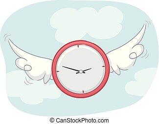 orologio, ali, volare, illustrazione