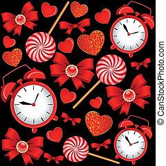 orologio, allarme, classico, archi, dolci