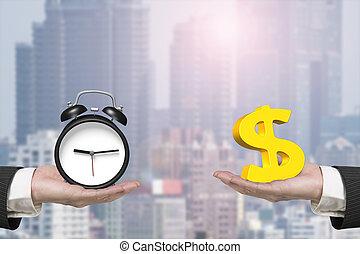 orologio, allarme, dollaro, due, segno, mani