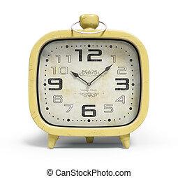 orologio, allarme, isolato, interpretazione, retro, fondo, bianco, 3d