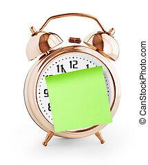 orologio, allarme, isolato, nota, verde, messaggio, bianco