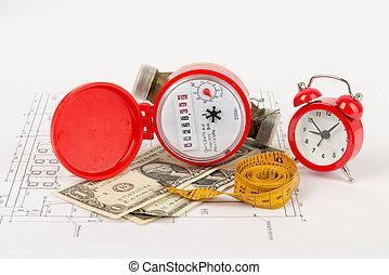 orologio, allarme, tape-measure, metro, acqua, rosso
