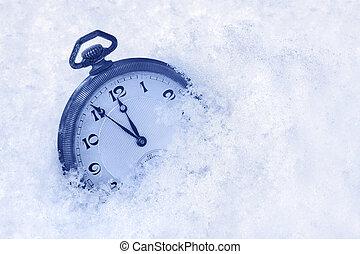 orologio, augurio, tasca, neve, anno, nuovo, scheda, felice