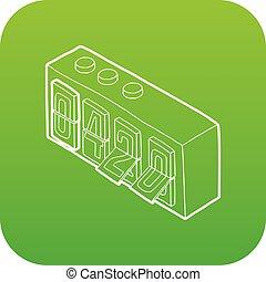 orologio, buffetto, vettore, verde, 420, analogico, icona