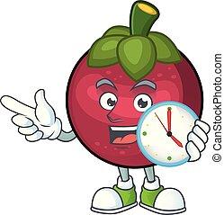 orologio, carattere, frutta, salute, mangosteen, cartone animato