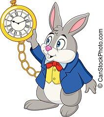 orologio, cartone animato, coniglio, presa a terra