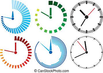 orologio, (clock, set), icone