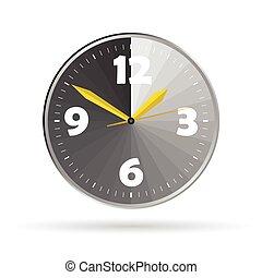 orologio, colorare, vettore, illustrazione