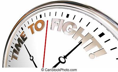 orologio, difendere, indietro, illustrazione, lotta, protesta, tempo, azione, 3d