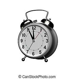 orologio, fondo., allarme, interpretazione, 3d, bianco, isolato