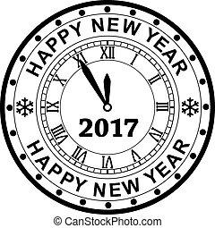 orologio, francobollo, gomma, vettore, disegno, anno, nuovo, 2017