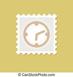 orologio, francobollo, vettore