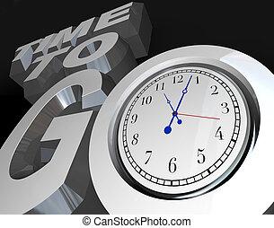 orologio, giù, inizio, momento, parole, tempo, andare, conteggio, 3d