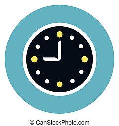 orologio, icona, su, rotondo, sfondo blu
