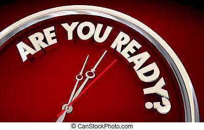 orologio, illustrazione, apparecchiato, parole, tempo, pronto, lei, 3d