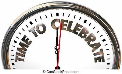orologio, illustrazione, possedere, tempo, divertimento, evento celebrazione, celebrare, 3d