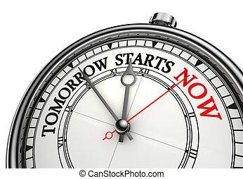 orologio, inizi, concettuale, messaggio, ora, domani