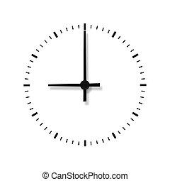 orologio, isolato, fondo., senza, numeri, bianco